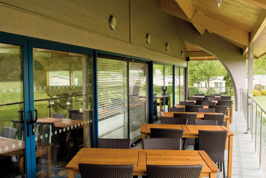 Abbots Salford Caravan Park Clubhouse covered balcony