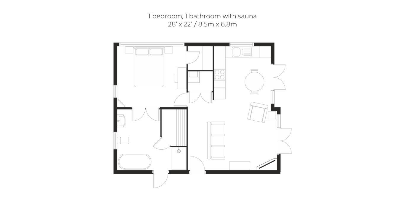 Glade 1 bed 1 bath with sauna floorplan