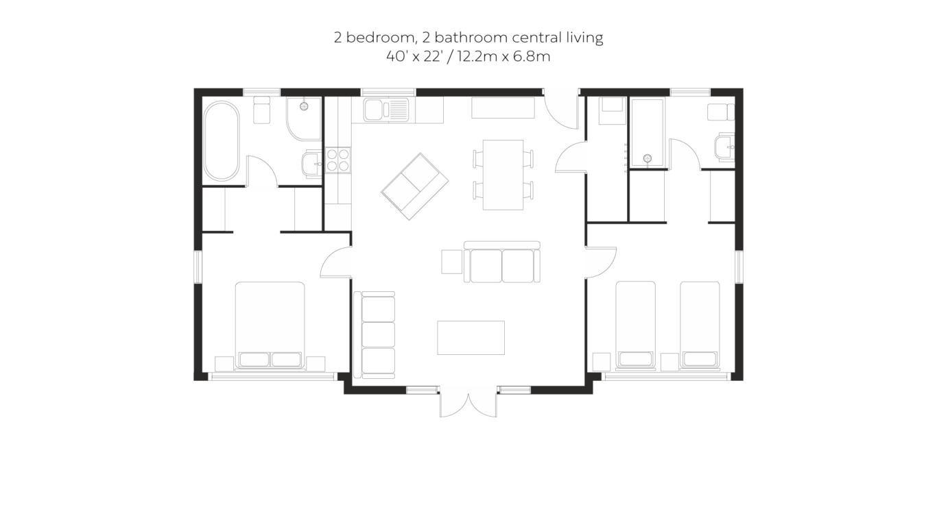 Glade 2 bed 2 bath central living floorplan