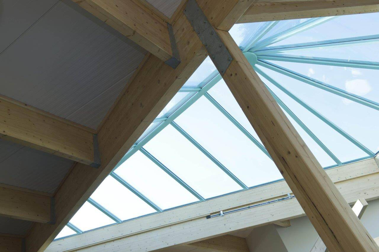 detail of roof light from the inside of building