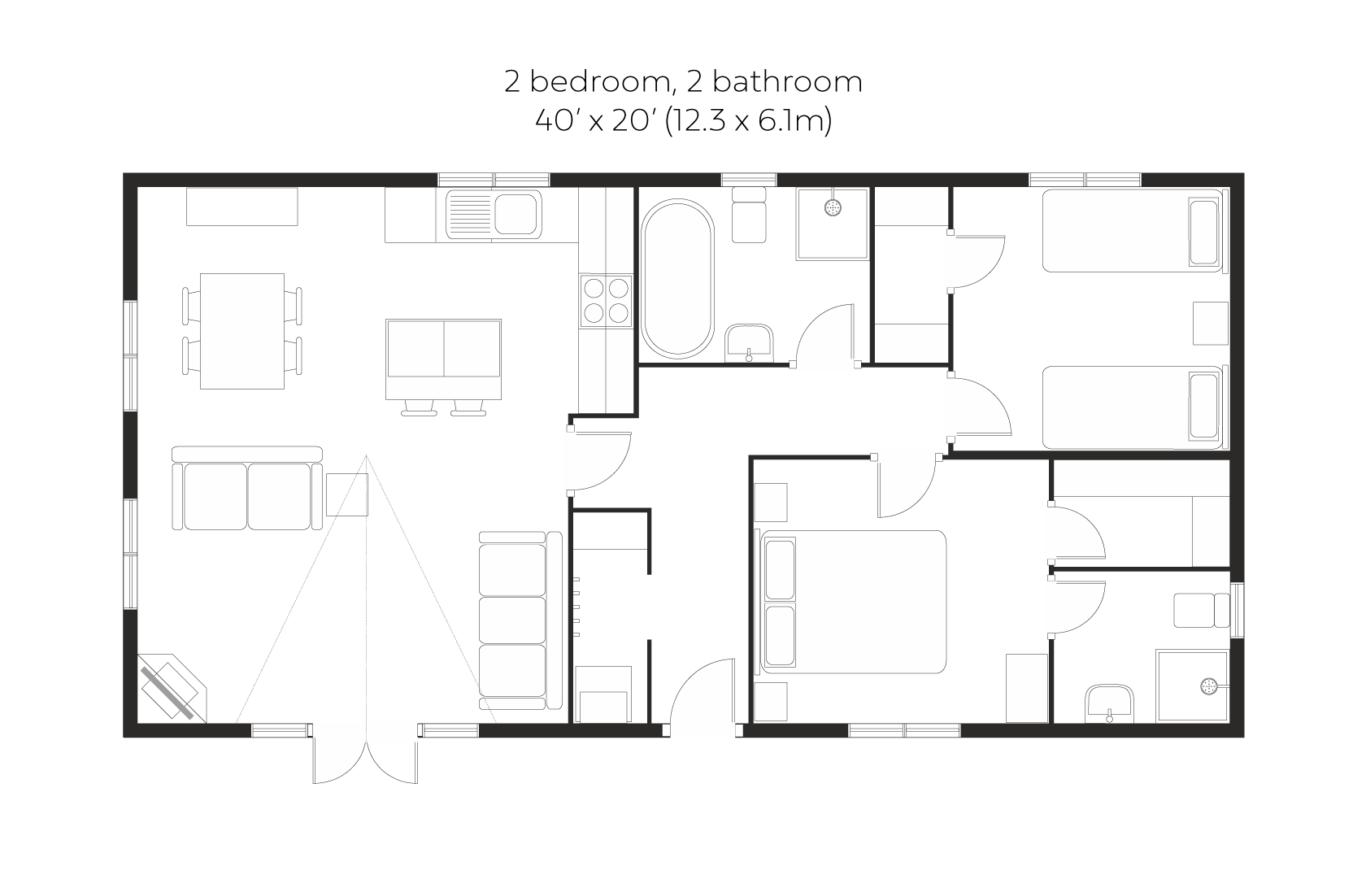 New England 2 bed 2 bath floorplan