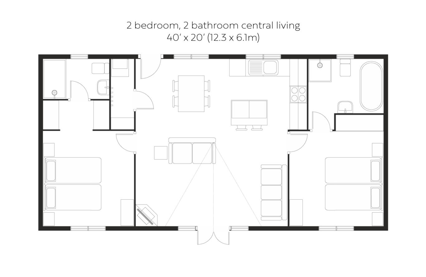 New England 2 bed 2 bath central living floorplan