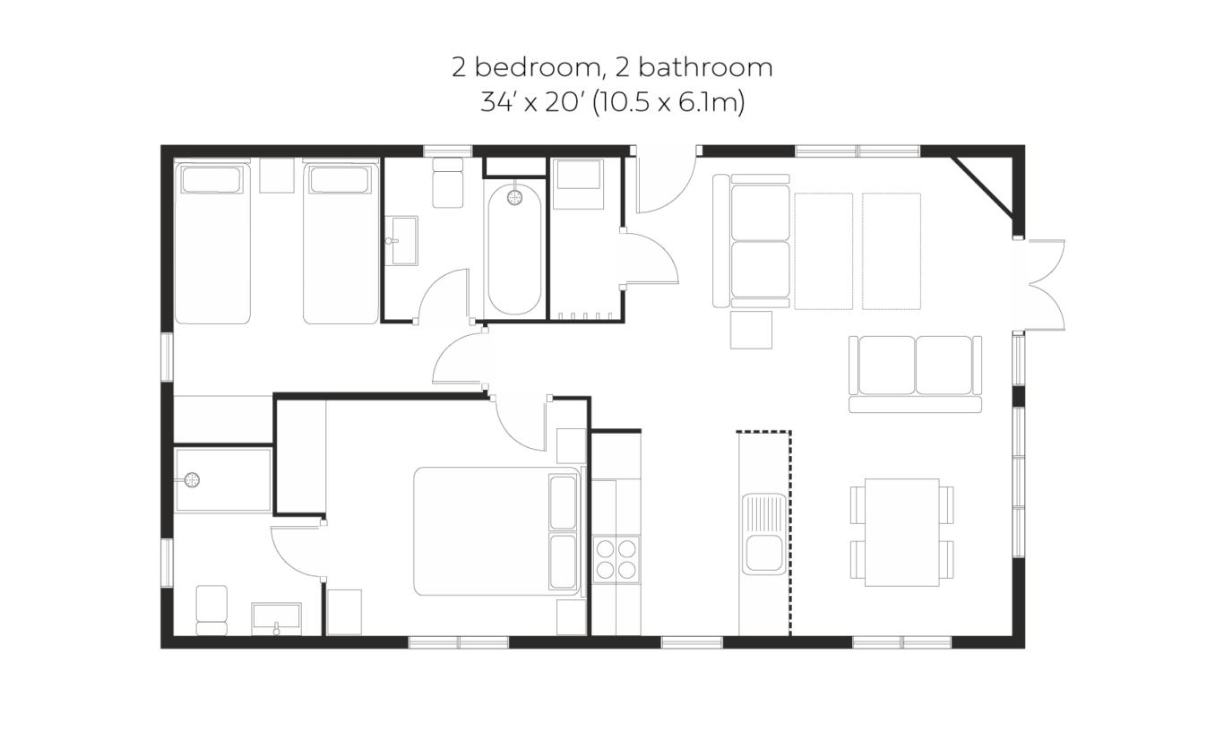 Skyline 2 bed 2 bath small floorplan