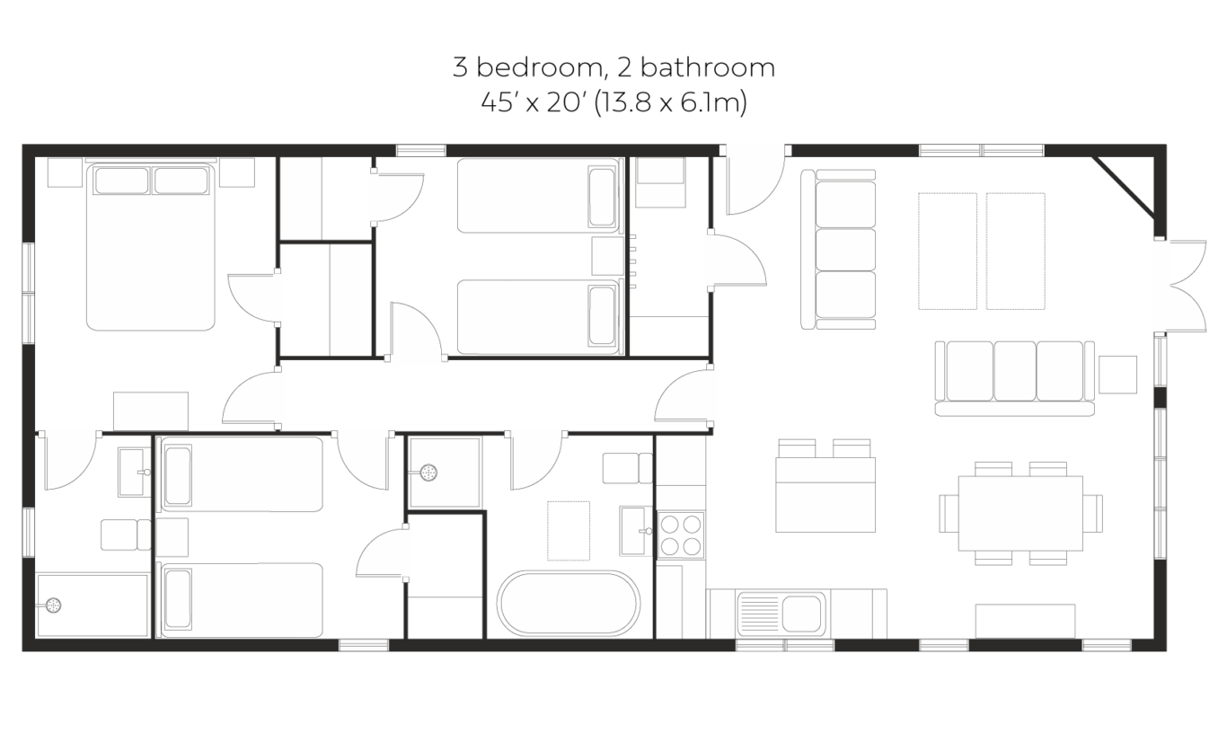 Skyline 2 bed 2 bath floorplan