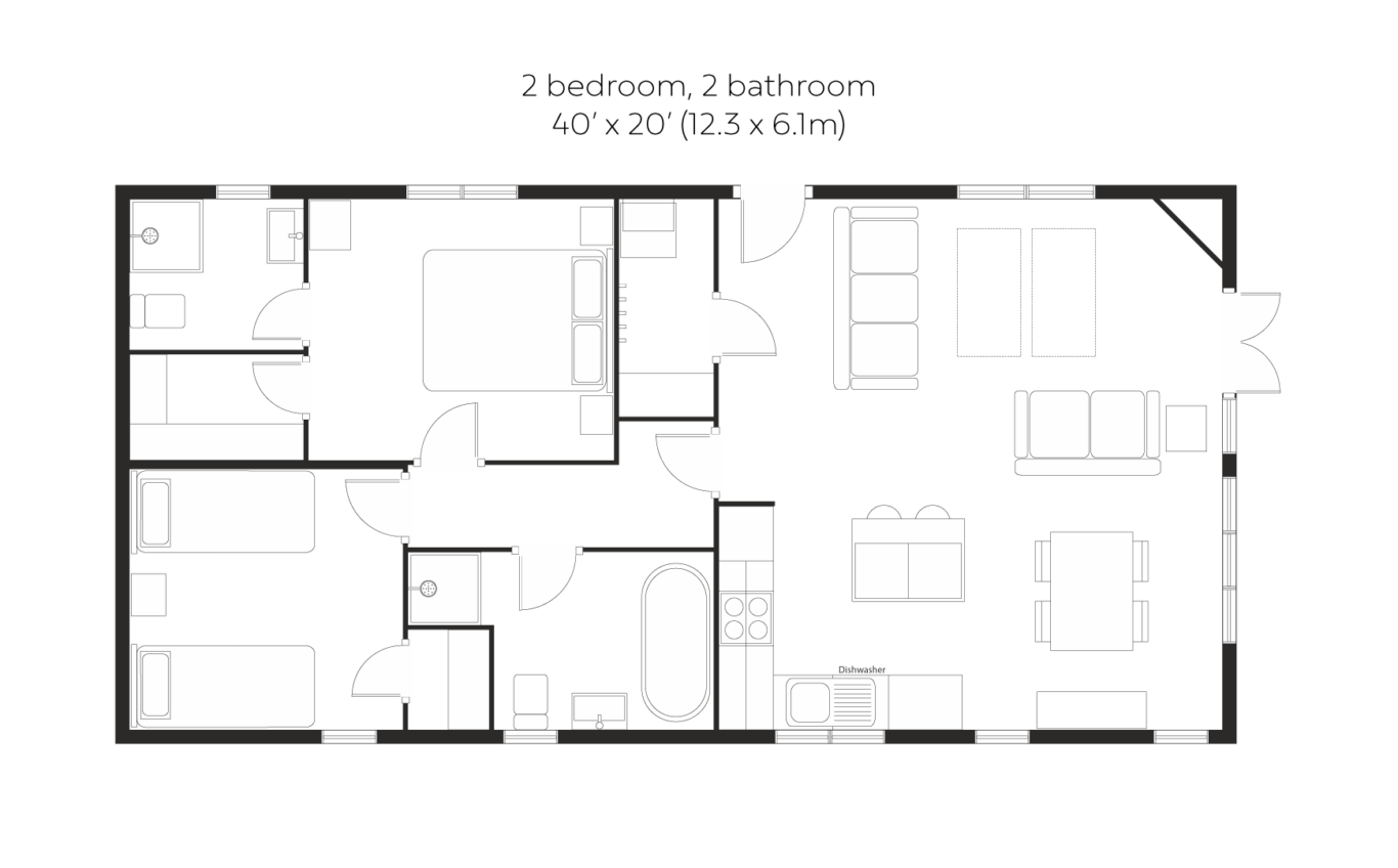 Skyline View 2 bedroom 2 bathroom floorplan
