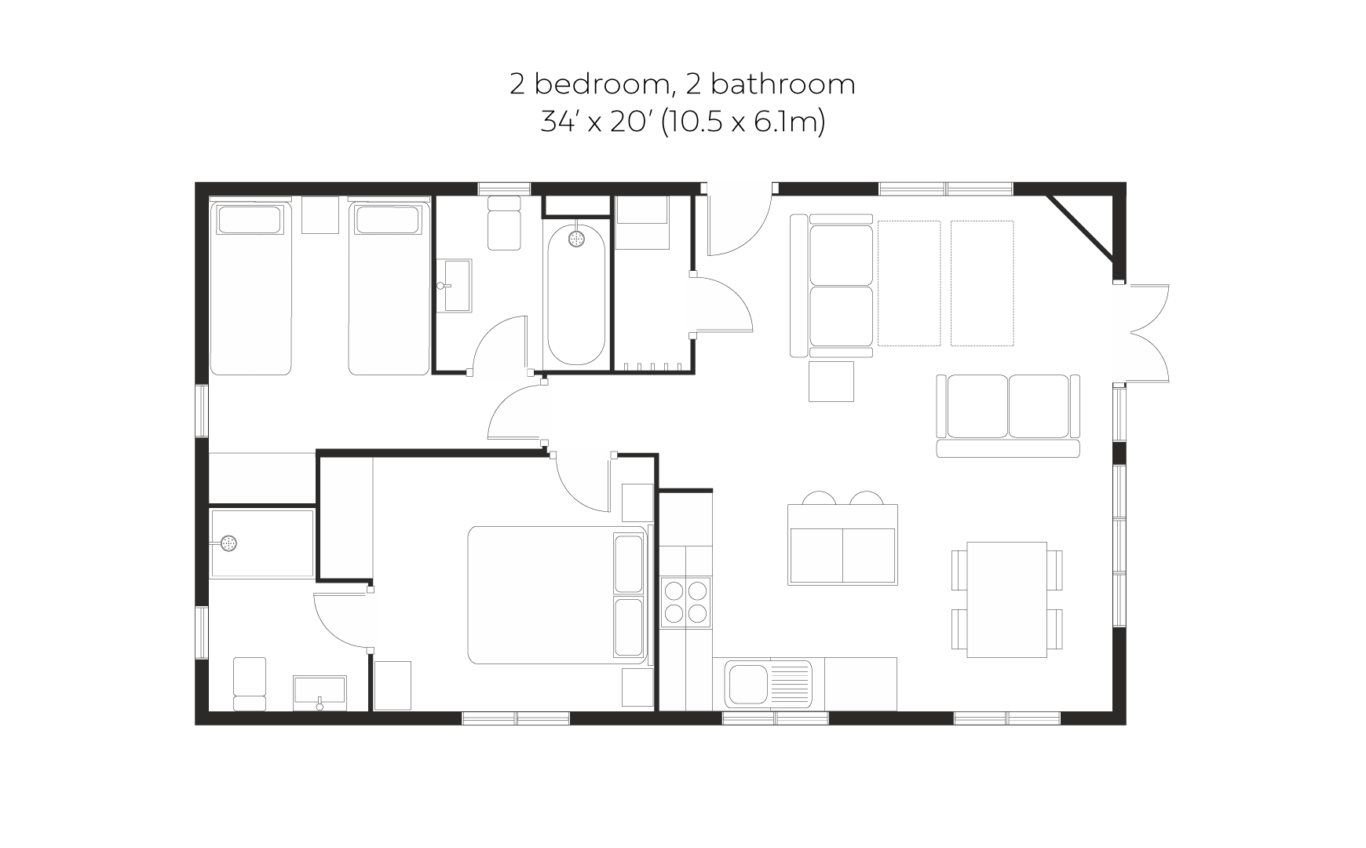 Skyline View 2 bedroom 2 bathroom small floorplan