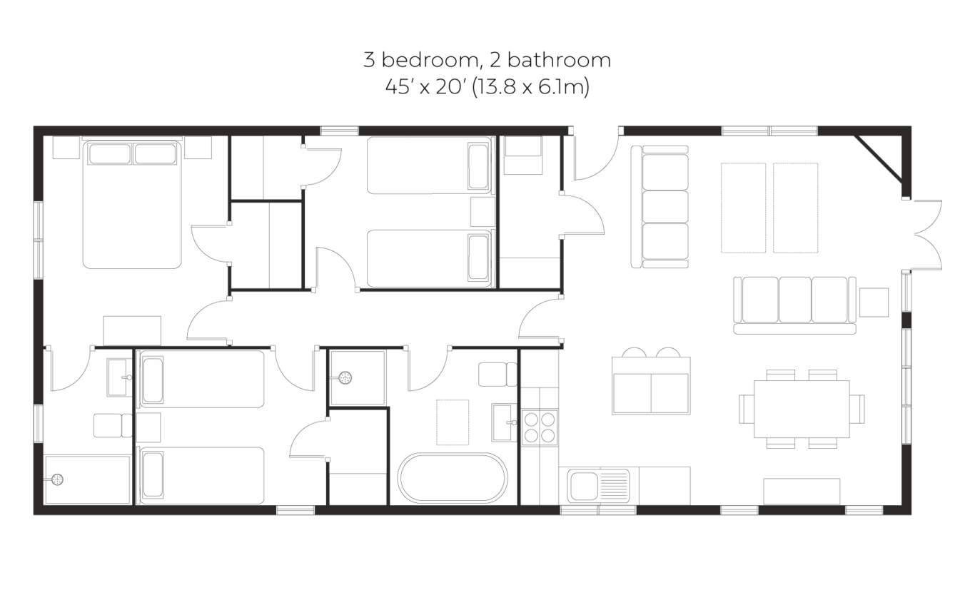 Skyline View 3 bedroom 2 bathroom floorplan