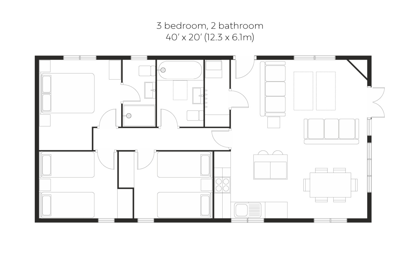 Skyline View 3 bedroom 2 bathroom small floorplan