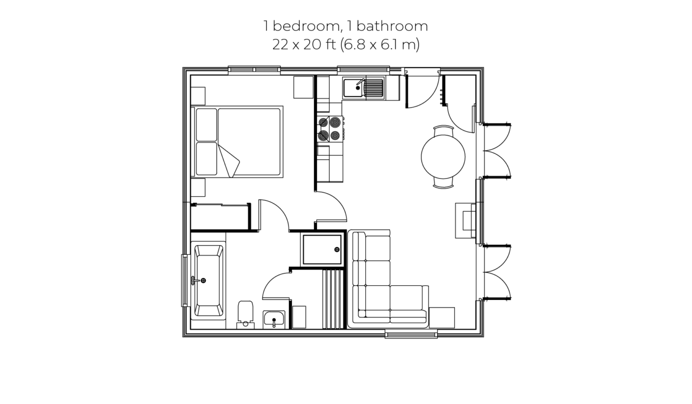 Woodsman 1 bedroom 1 bathroom floorplan