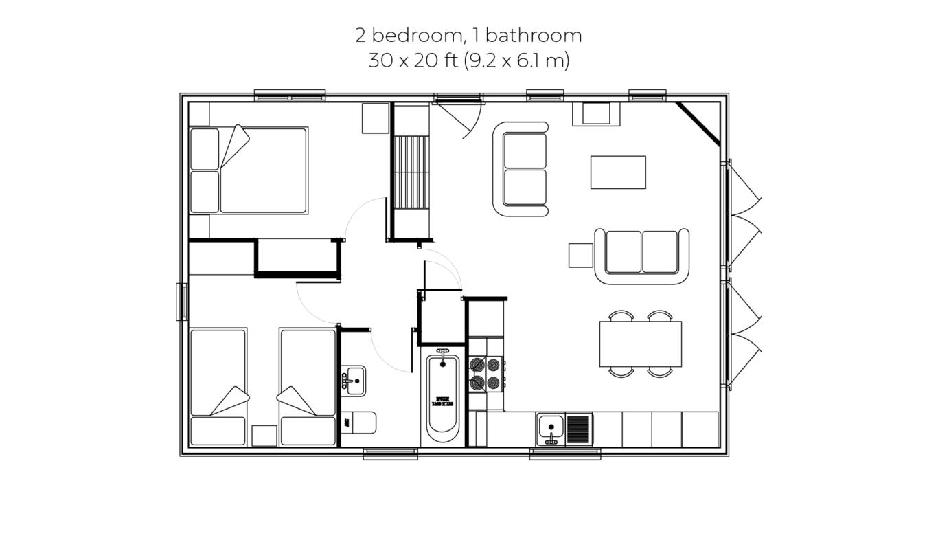 Woodsman 2 bedroom 1 bathroom floorplan