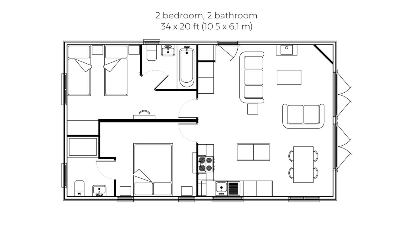 Woodsman 2 bedroom 2 bathroom floorplan
