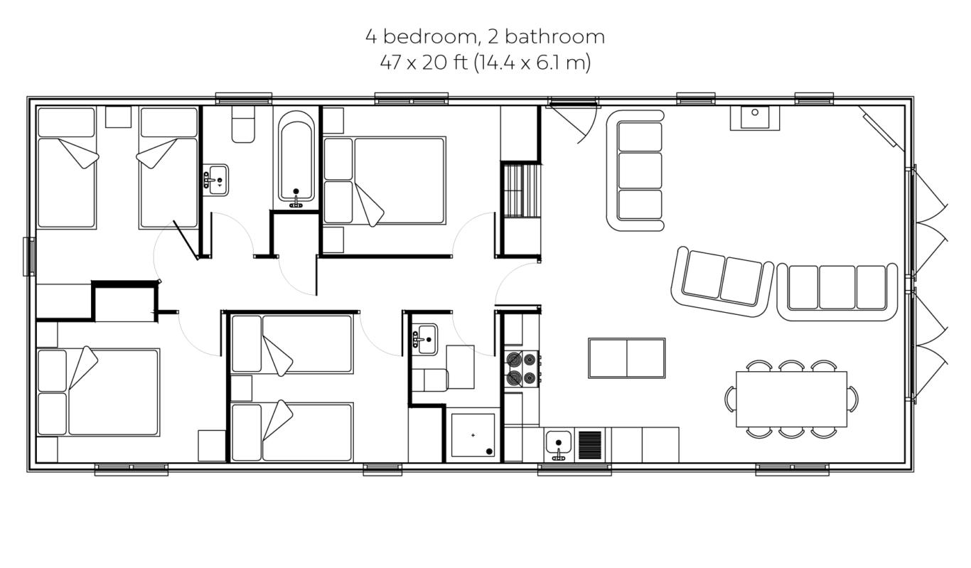Woodsman 3 bedroom 2 bathroom floorplan